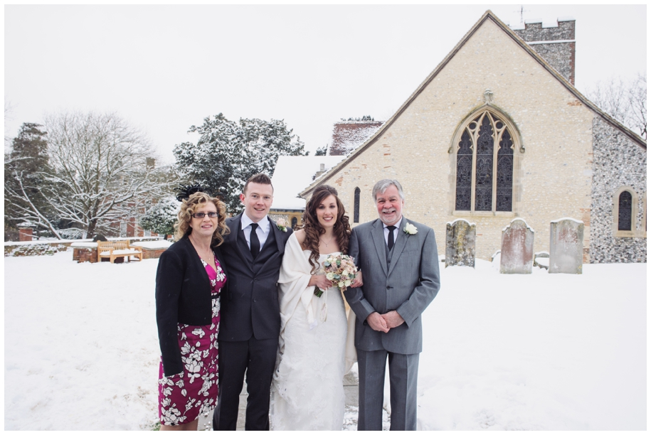 family photos at a winter wedding