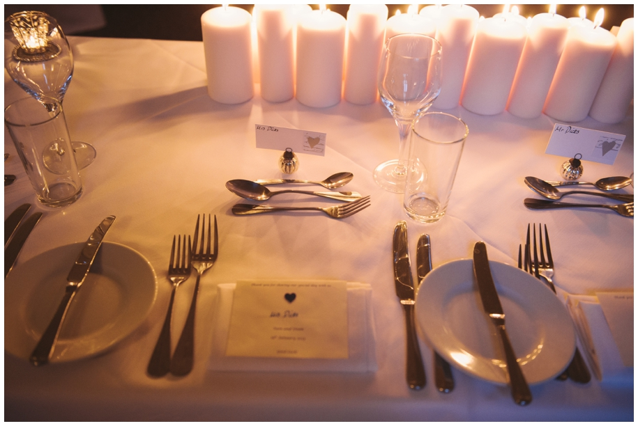 bride and groom table settings