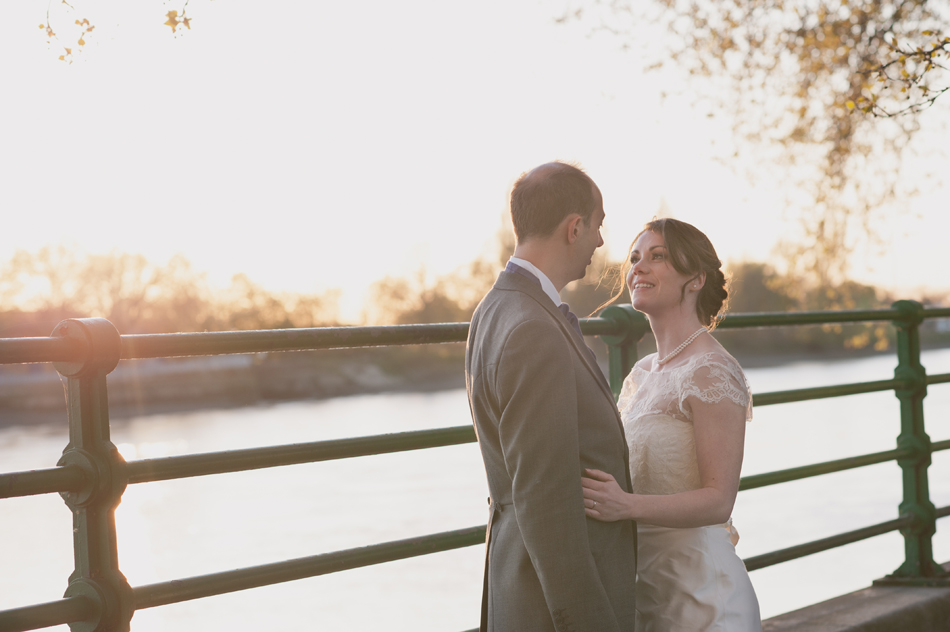 Fulham Palace wedding by the Thames at sunset